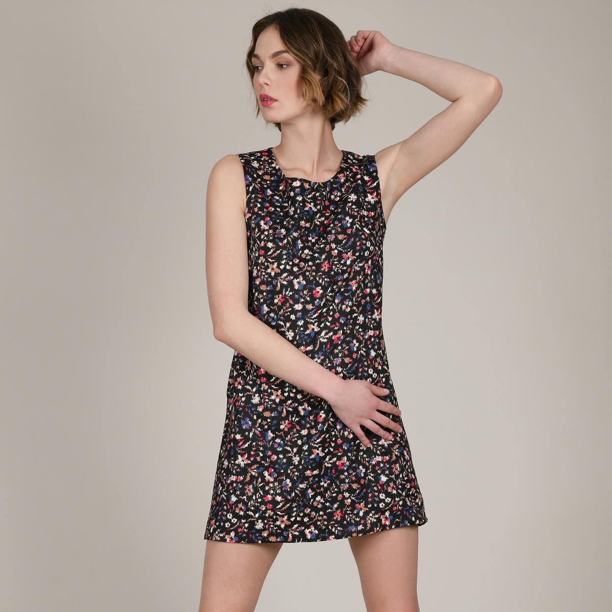 Платье La Redoute Короткое прямое с цветочным рисунком без рукавов M черный платье прямое с цветочным рисунком и контрастной полосой сзади