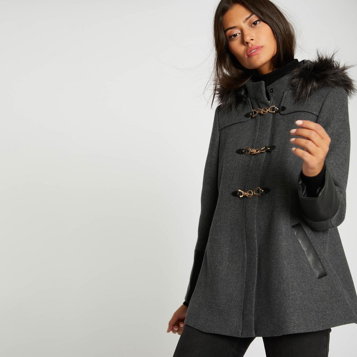 Пальто La Redoute Средней длины из двух материалов с капюшоном на меху 42 (FR) - 48 (RUS) серый цены