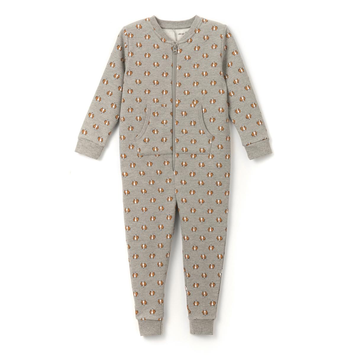 Комбинезон-пижама из мольтона с принтом 2-12 лет
