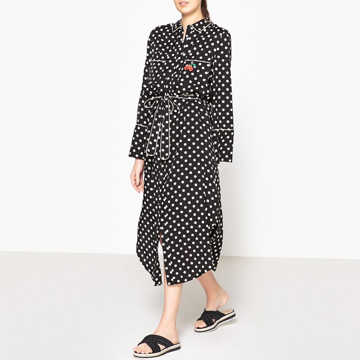 Платье-рубашка длинное с рисунком в горошек POURYOU рубашка в мелкий горошек
