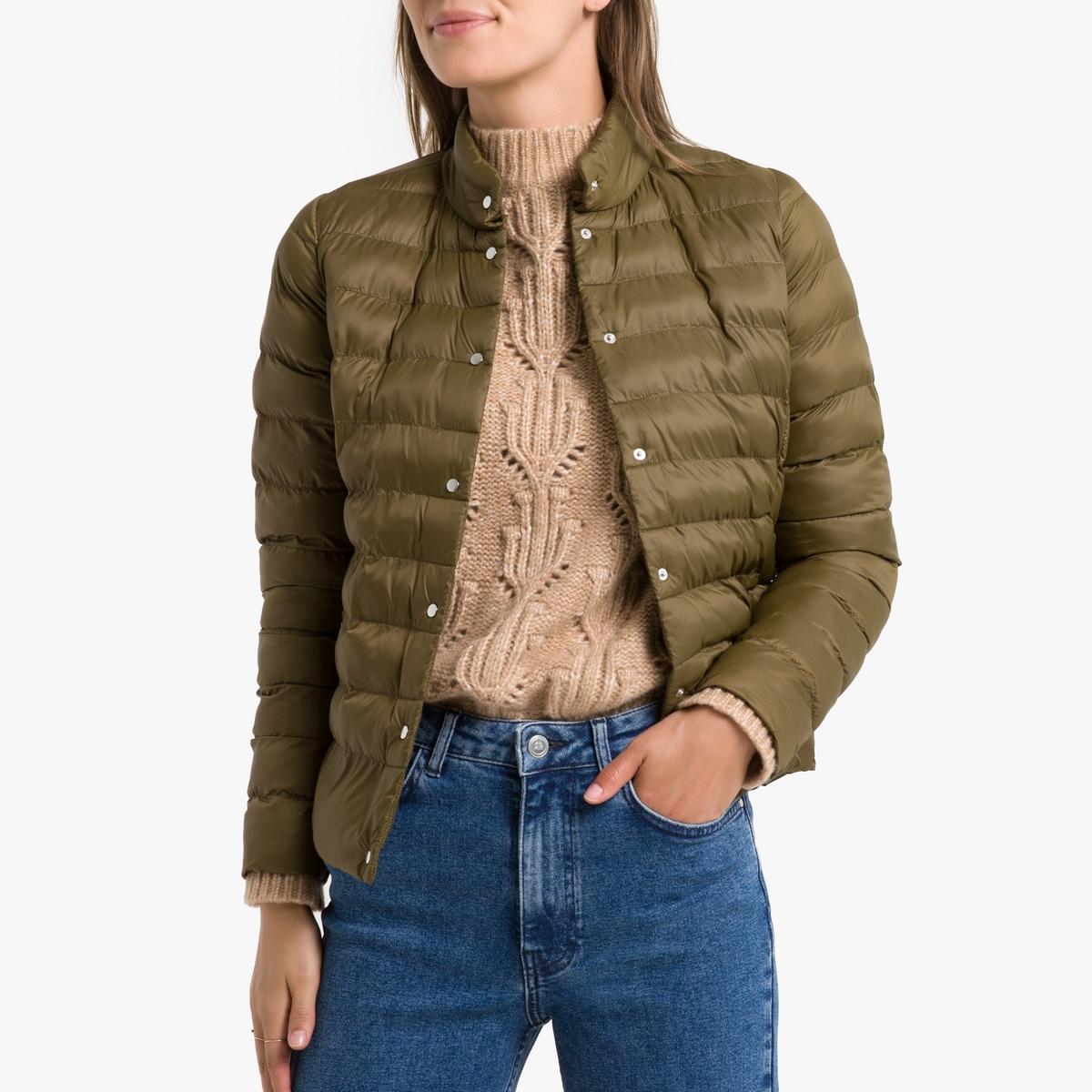 цена Куртка La Redoute Стеганая короткая с застежкой на пуговицы 38 (FR) - 44 (RUS) зеленый онлайн в 2017 году