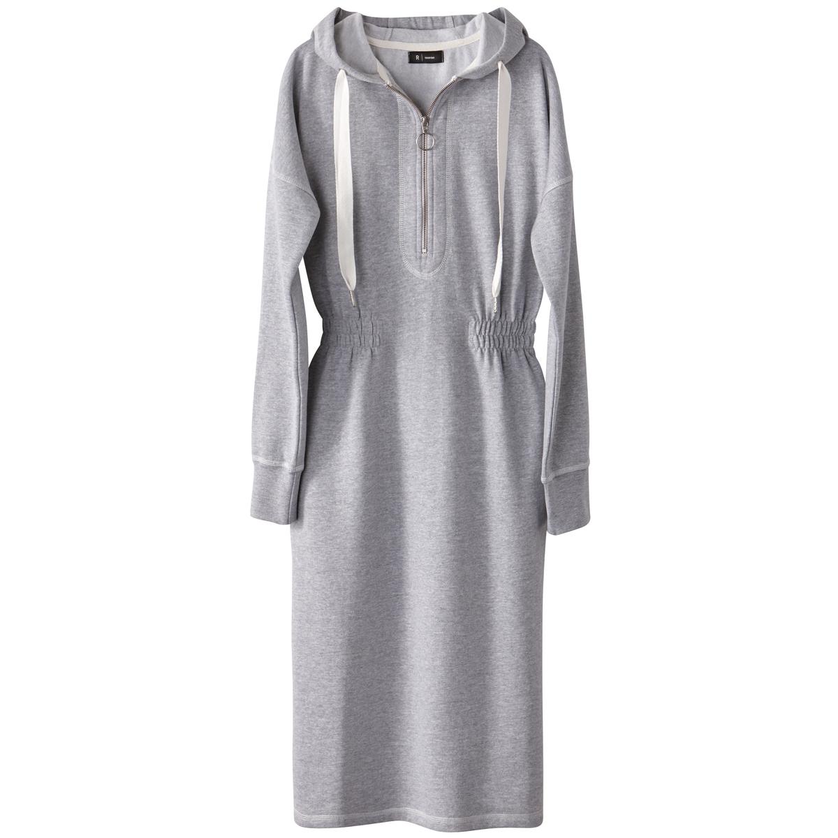 Платье-пуловер с капюшоном и эластичным поясом