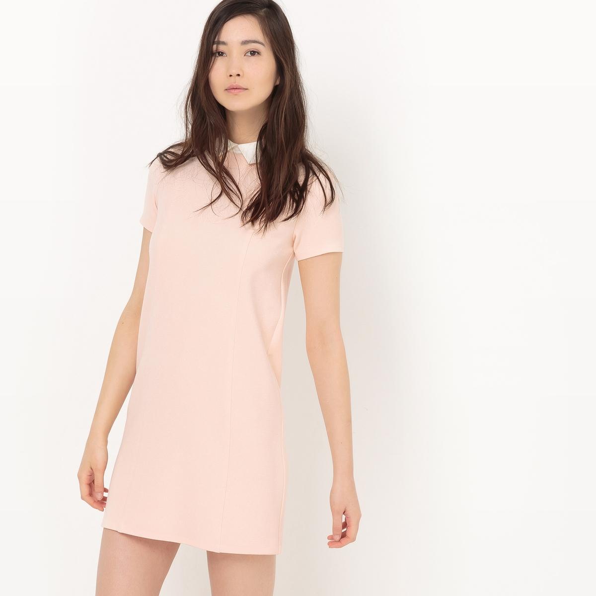 Платье-футляр с контрастным воротником