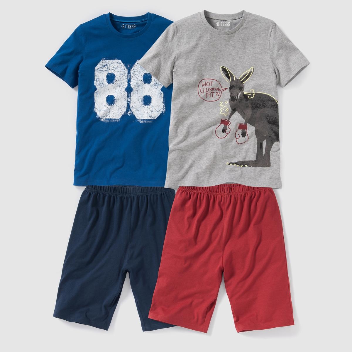 Пижама с шортами из джерси с рисунком,  10-16 лет (2 шт.)Пижама: футболка и шорты. Комплект из 2  топов  . Футболки с короткими рукавами и разными рисунками. Шорты с эластичным поясом.Знак Oeko-Tex*. Состав и описание : Материал: трикотаж джерси, 100% хлопка (кроме модели серый меланж : преимущественно из хлопкаМарка: R ?dition.  Уход :Машинная стирка при 30 °C с вещами схожих цветов.Стирать и гладить с изнаночной стороны.Машинная сушка на умеренном режиме.Гладить на низкой температуре.    *Международный знак Oeko-Tex гарантирует отсутствие вредных или раздражающих кожу веществ<br><br>Цвет: серый меланж + синий