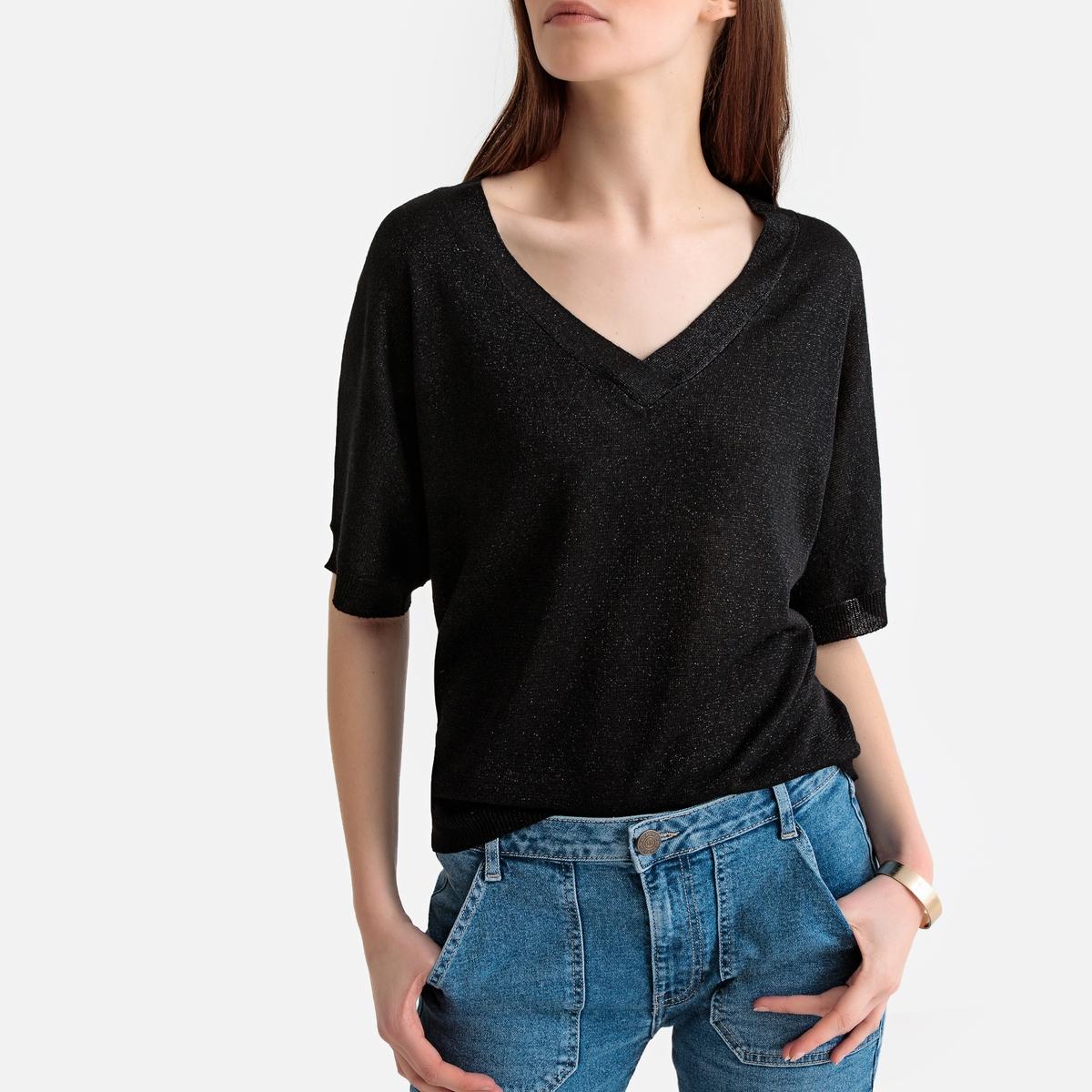 Пуловер La Redoute С V-образным вырезом из блестящего тонкого трикотажа S черный пуловер la redoute с v образным вырезом из тонкого трикотажа s черный