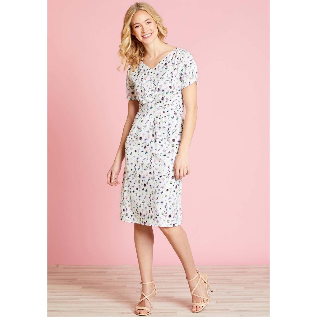 Платье расклешенное с цветочным рисунком, средней длины платье yumi yumi платье