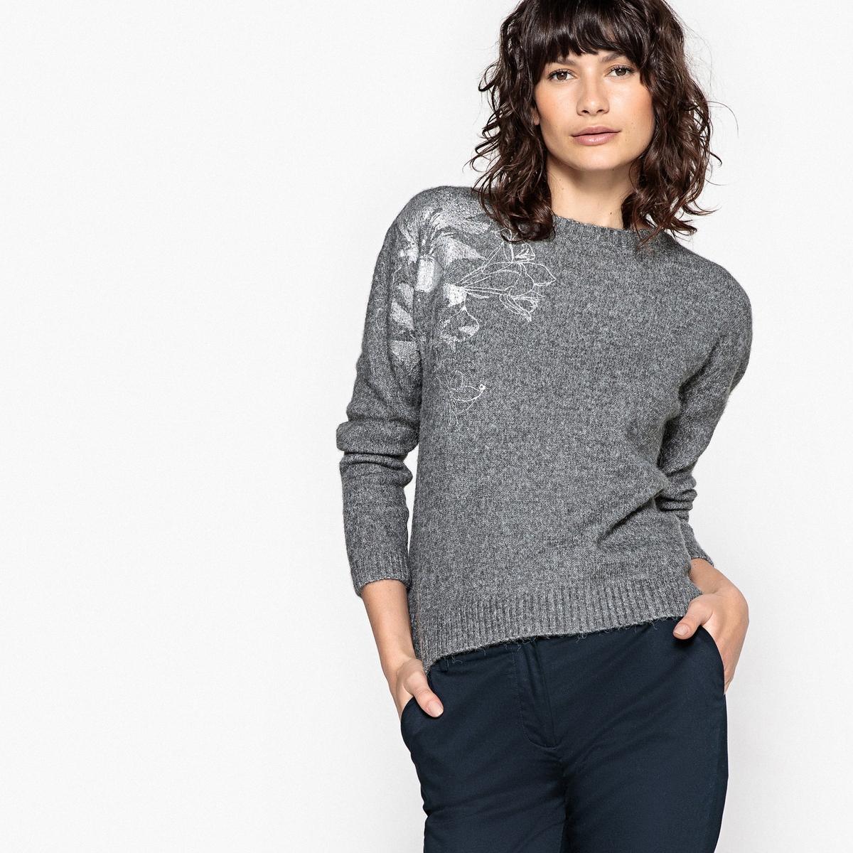 Sweter z okrągłym dekoltem, nadruk z połyskiem