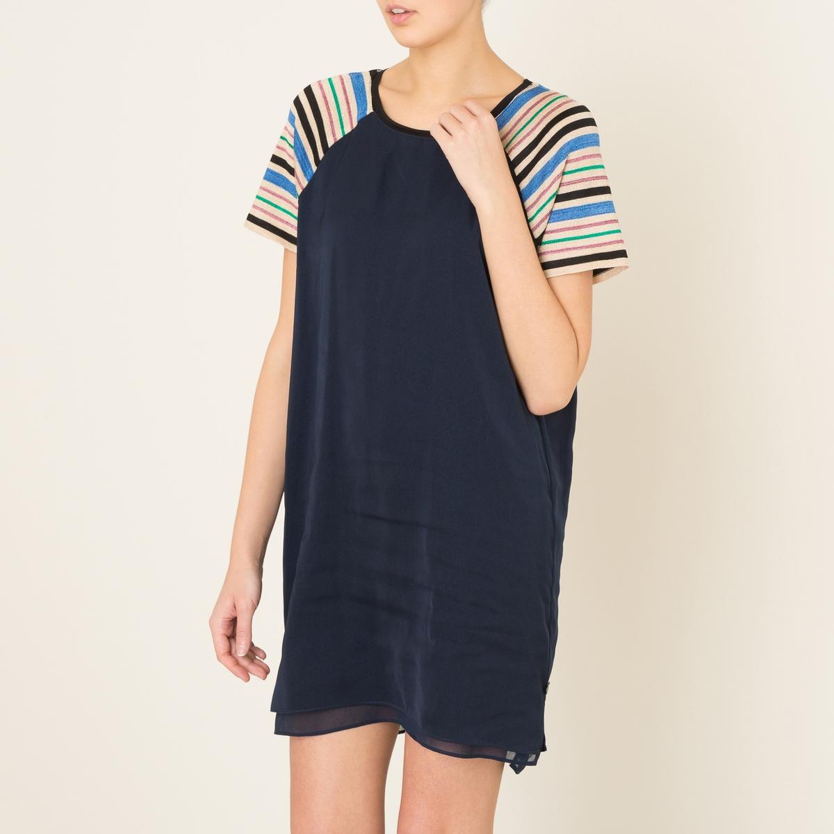 Платье-балахон из вуалиСостав и описание    Материал : 100% полиэстер   Марка : MAISON SCOTCH<br><br>Цвет: темно-синий