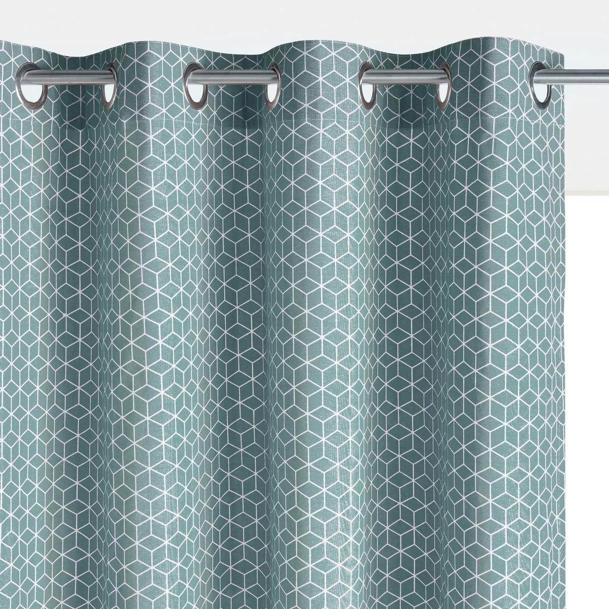 Штора La Redoute С рисунком DECIO 350 x 140 см синий штора для кухни kauffort коттедж на ленте с подхватом цвет синий ширина 136 см высота 175 см