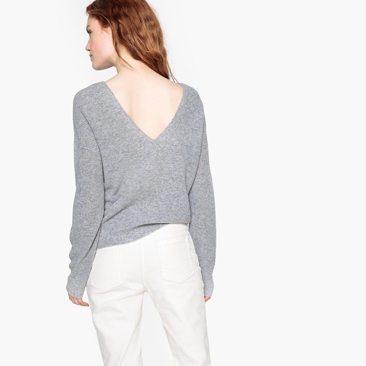 Пуловер La Redoute С V-образным вырезом сзади или спереди из кашемира XL серый