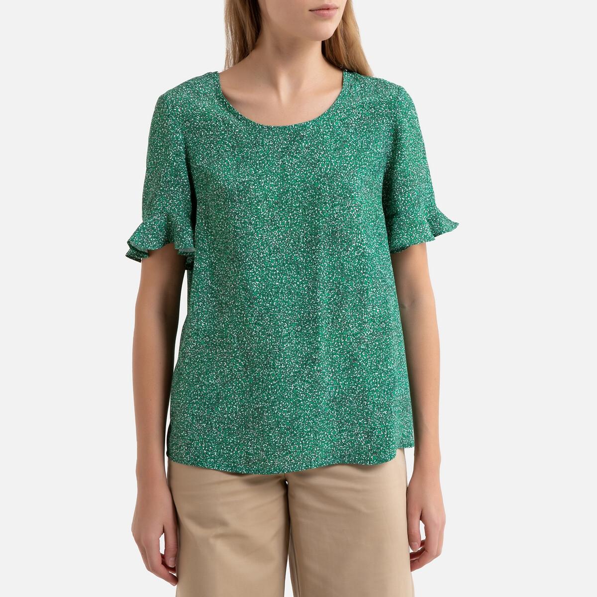 Блузка LaRedoute С круглым вырезом и короткими рукавами PHILIPPINE 38 (FR) - 44 (RUS) зеленый пуловер laredoute с короткими рукавами с бантиком сзади xl красный