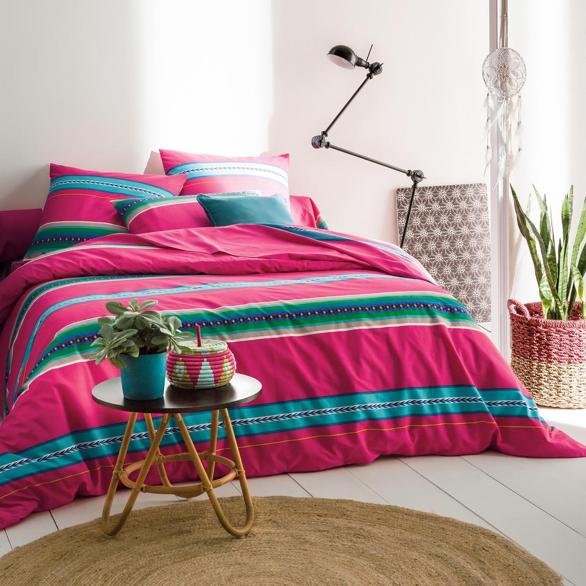 Пододеяльник NazcaСоответствие размеров пододеяльника :140 x 200 см : 1-спальный200 х 200 см : 1-2-спальный240 х 220 см : 2-спальный260 х 240 см : 2-спальный Машинная стирка при 60 °С. Прямой низ с отделкой.Яркие полоски в стиле мексиканского фольклора.<br><br>Цвет: розовый с рисунком<br>Размер: 140 x 200  см.200 x 200  см