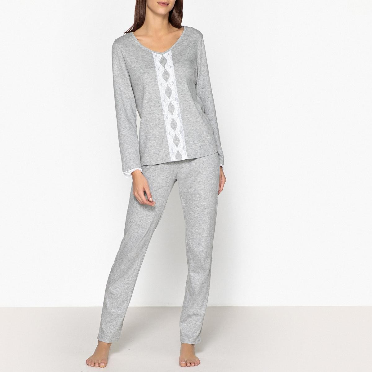 Пижама со вставками из кружева пижама из майки и шортов из модала и кружева romy