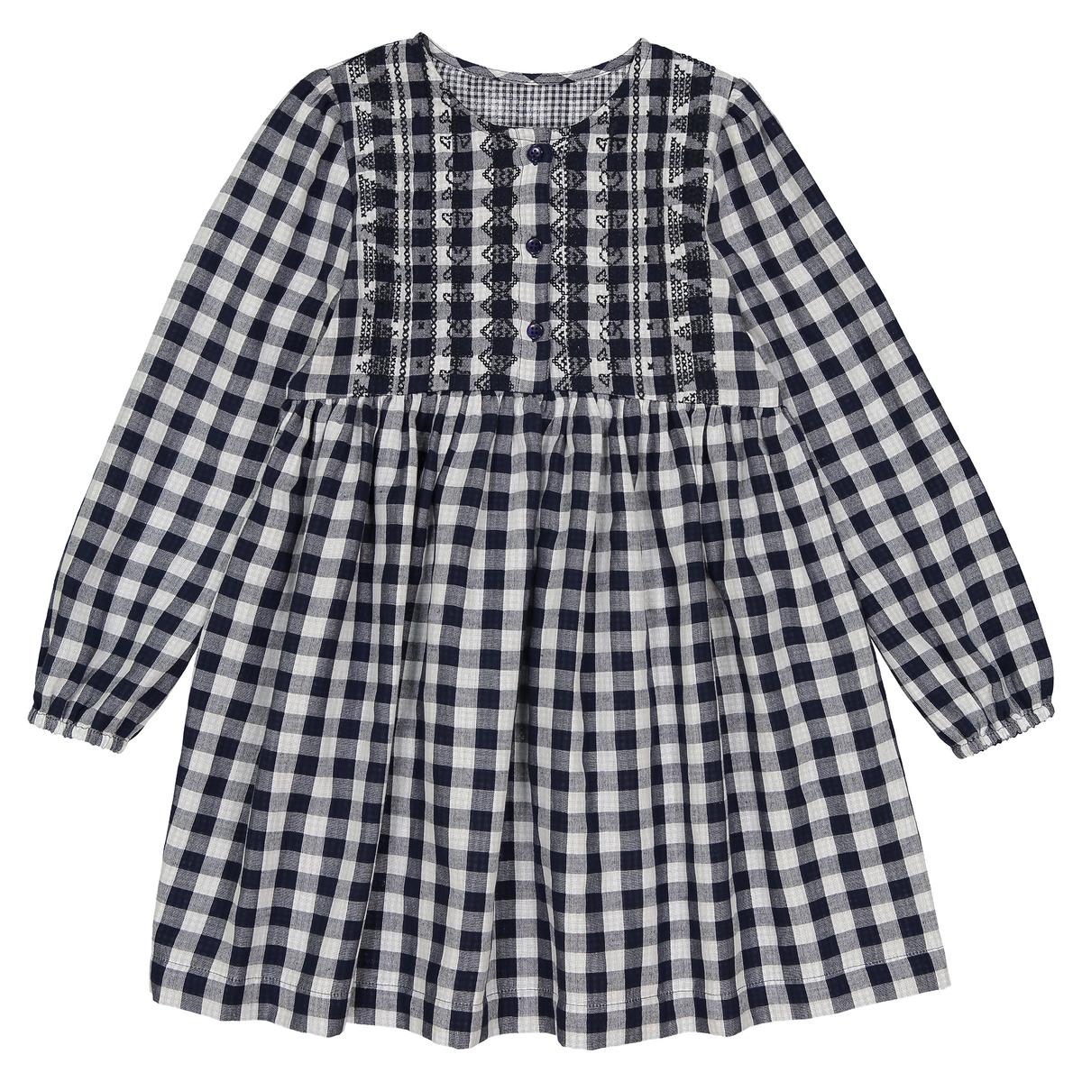 Vestido a cuadros bordado, 3-12 años