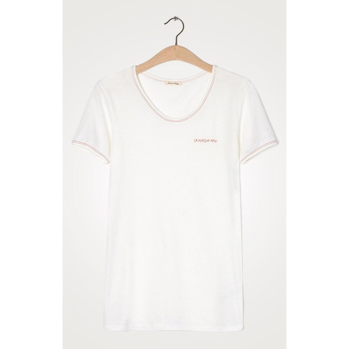 Футболка La Redoute С круглым вырезом и короткими рукавами BIPCAT S белый футболка la redoute с круглым вырезом и короткими рукавами tova loup s серый