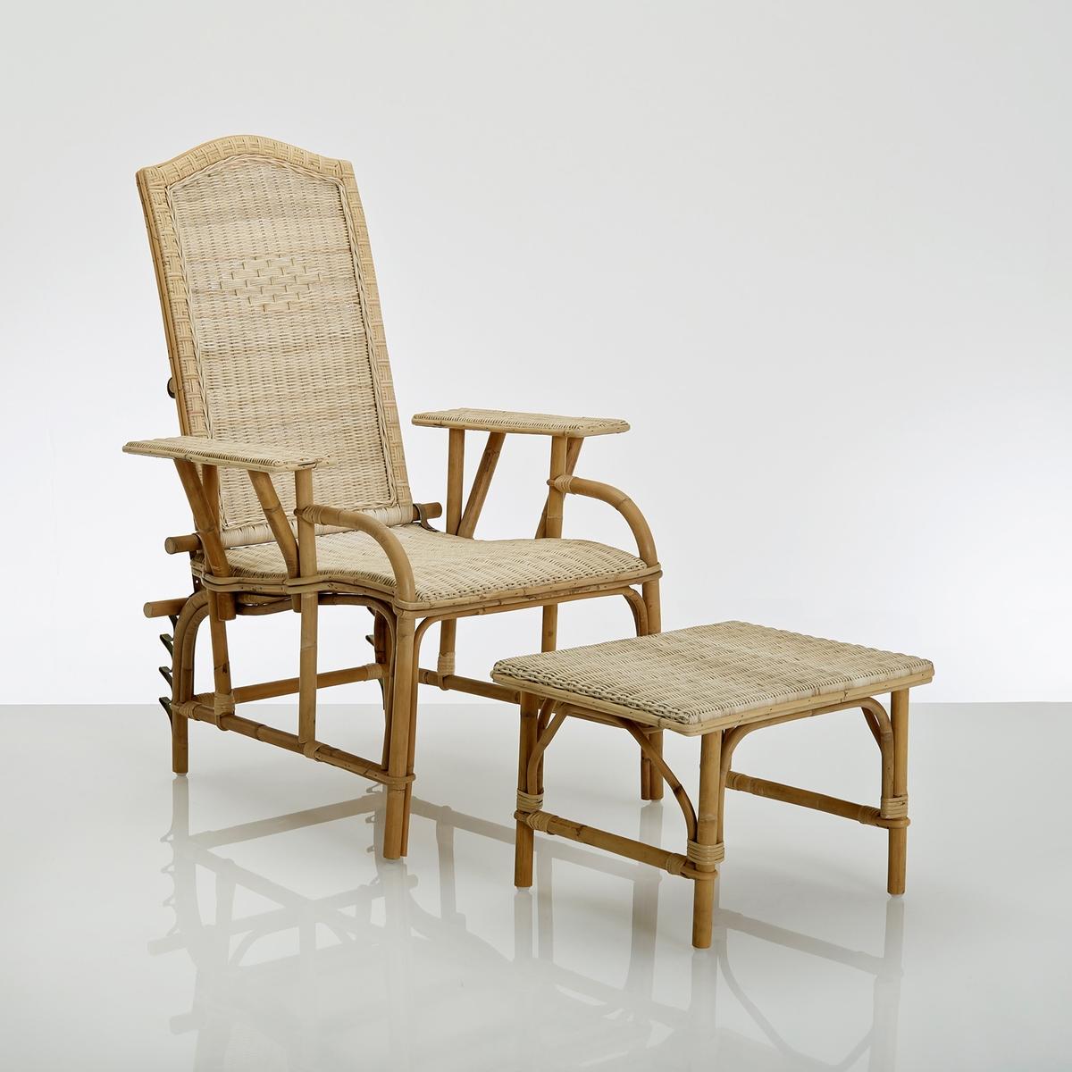 Chaise longue+ riposa-piedi in vimini, KOK,Nantucket