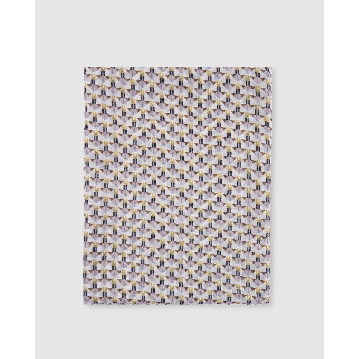 Foulard blanc à imprimé géométrique