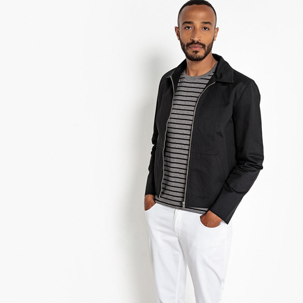 Блузон La Redoute Короткий с рубашечным воротником S черный