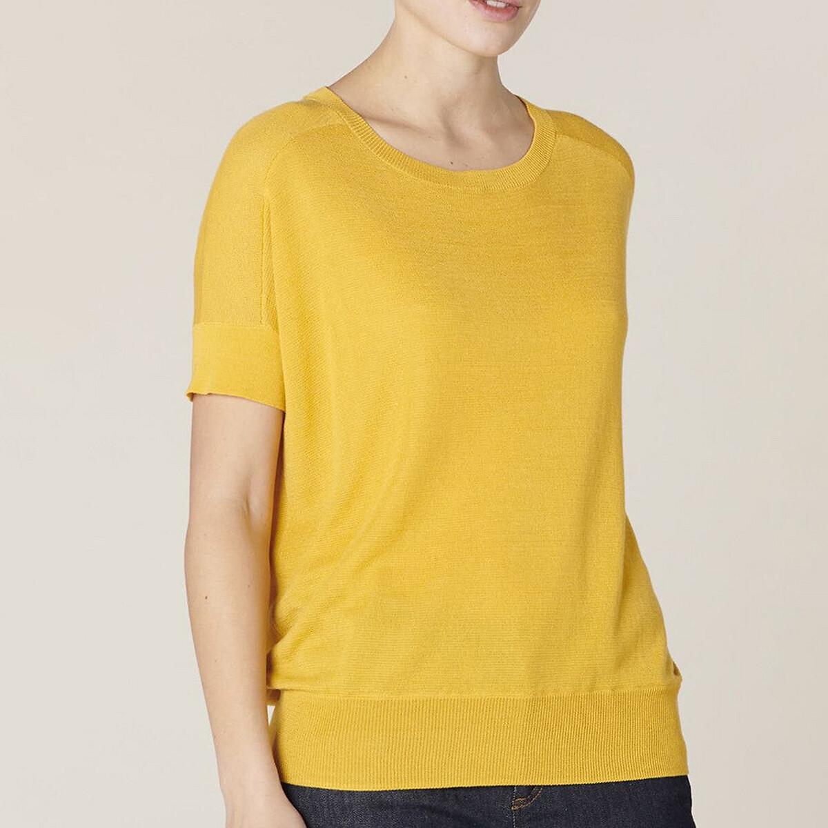 Пуловер La Redoute С круглым вырезом из тонкого трикотажа FLAURINE 2(M) желтый