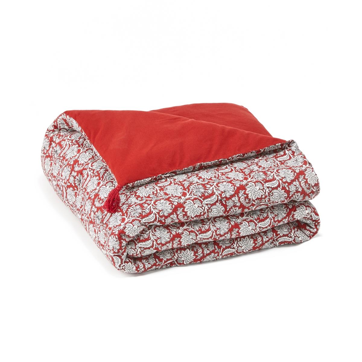 одеяло стеганое из хлопковой вуали с рисунком колорблок Покрывало La Redoute Из хлопковой вуали Zouli 180 x 230 см красный