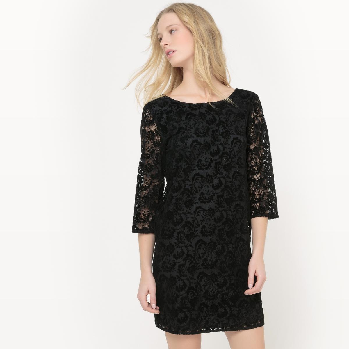Платье La Redoute Из велюра с цветочным рисунком 34 (FR) - 40 (RUS) черный платье la redoute длинное с цветочным рисунком и напускным эффектом 34 fr 40 rus черный
