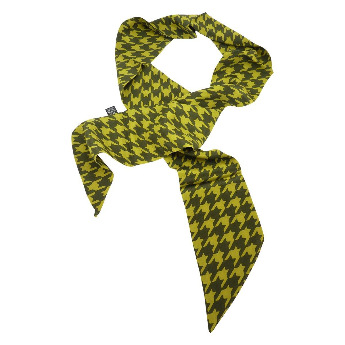 Foulard carre imprime en soie vert femme