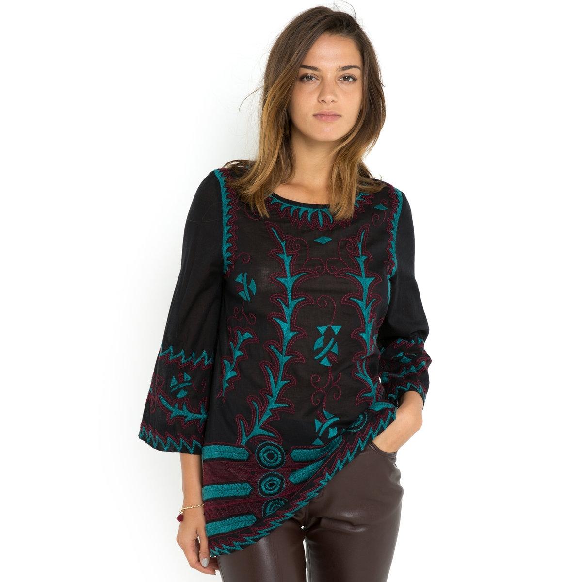 Блузка с длинными рукавамиБлузка BATIKA - GAT RIMON. Прямой покрой. Широкие рукава 7/8. Закругленный вырез. С вышивкой. Блузка из 100% хлопка.<br><br>Цвет: черный<br>Размер: 1(S)