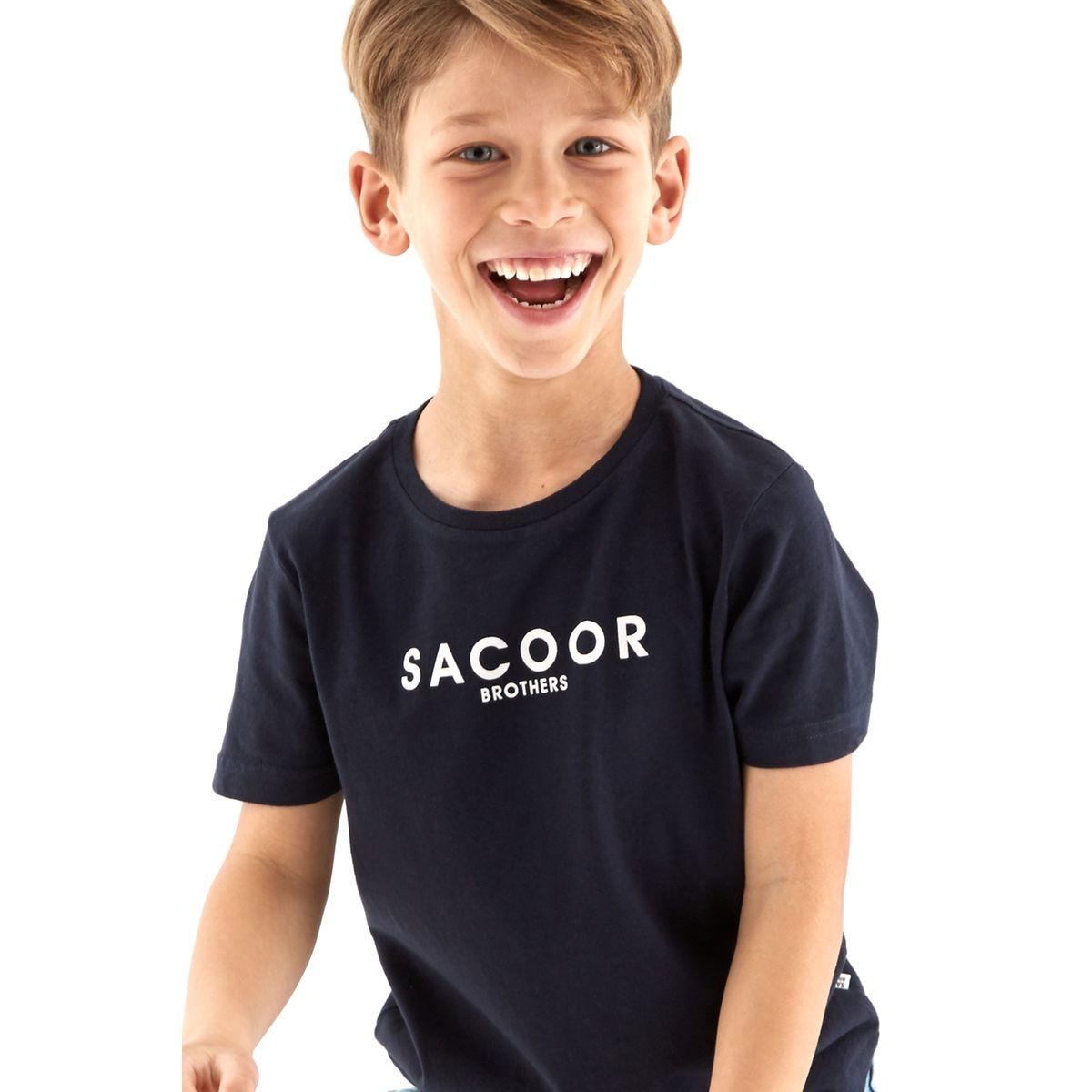T-shirt en coton avec col rond et manches cortes