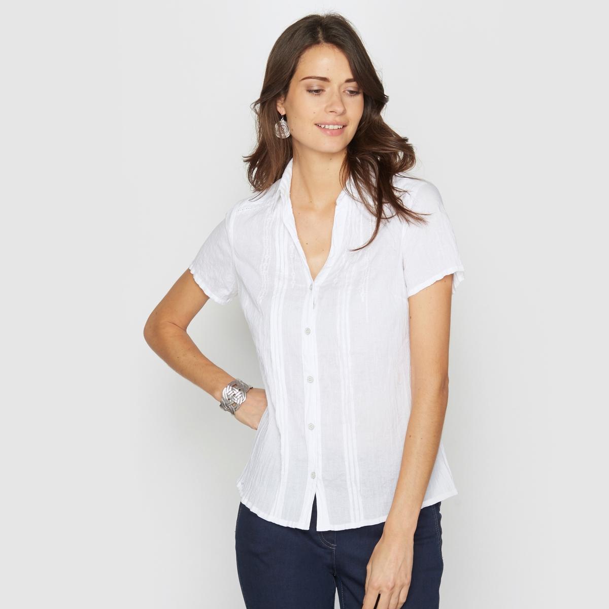 Блузка с горизонтальными складками и фантазийной вышивкой, 100% хлопка