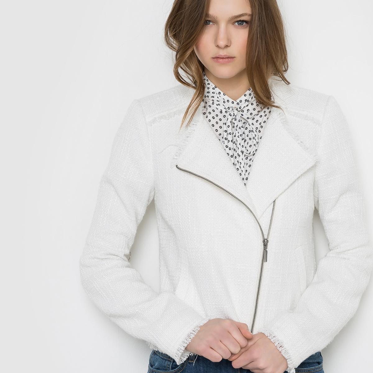 Куртка в байкерском стиле, VERO MODA VMBOOMER SHORT JACKETСостав и описание:   Материал : 52% хлопка, 48% полиэстера  Марка : VERO MODA.<br><br>Цвет: белый,оранжевый