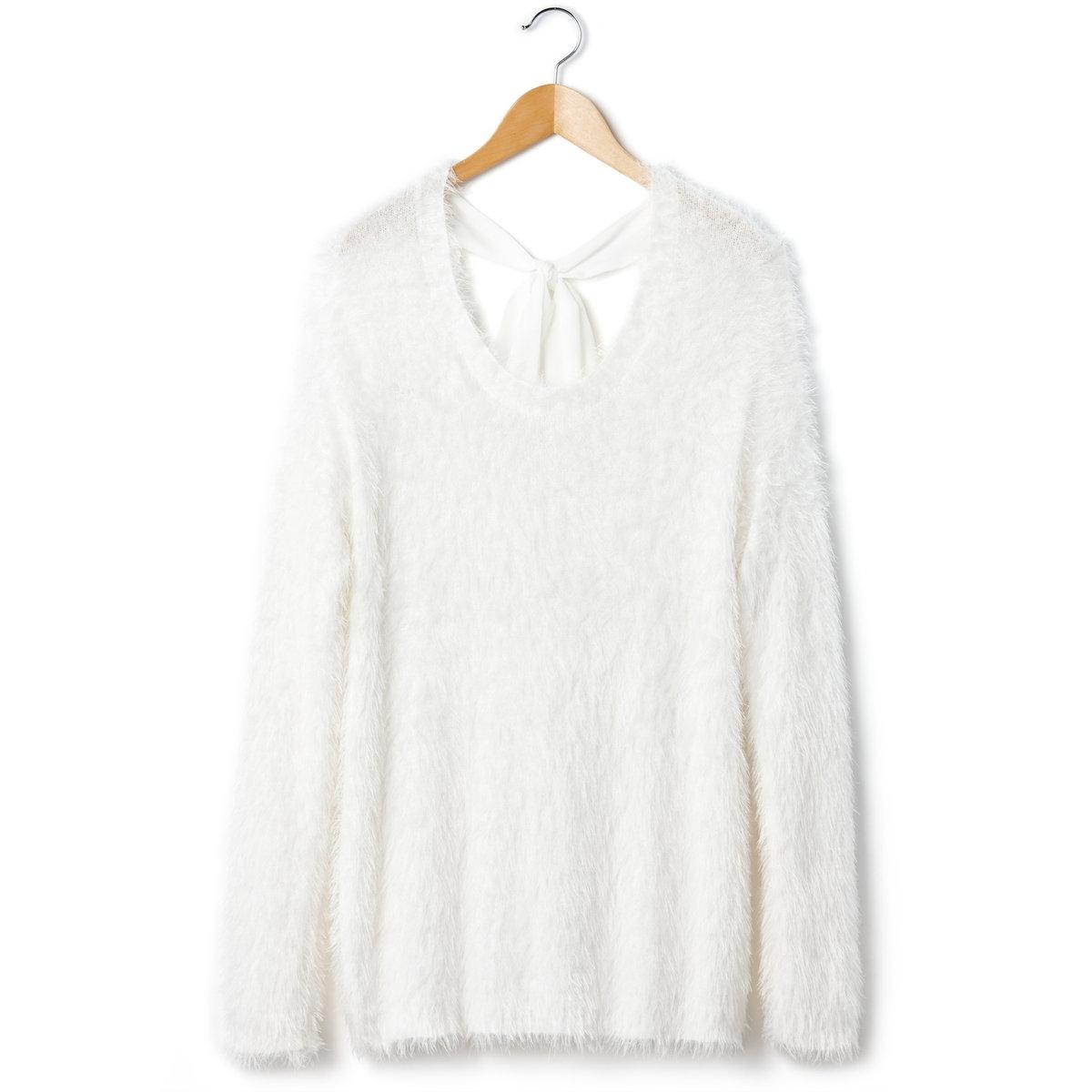 Пуловер с длинным ворсом и мережкой сзади