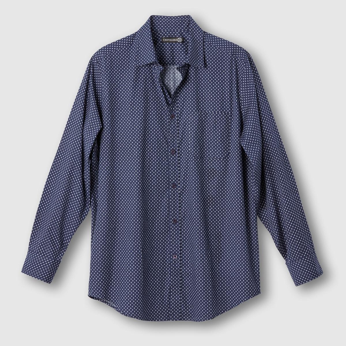 Рубашка с рисунком якоряРубашка с рисунком.  Воротник со свободными уголками. Длинные рукава. 1 нагрудный карман. Складка сзади. Поплин, 100% хлопка. Длина: 85 см.<br><br>Цвет: рисунок темно-синий