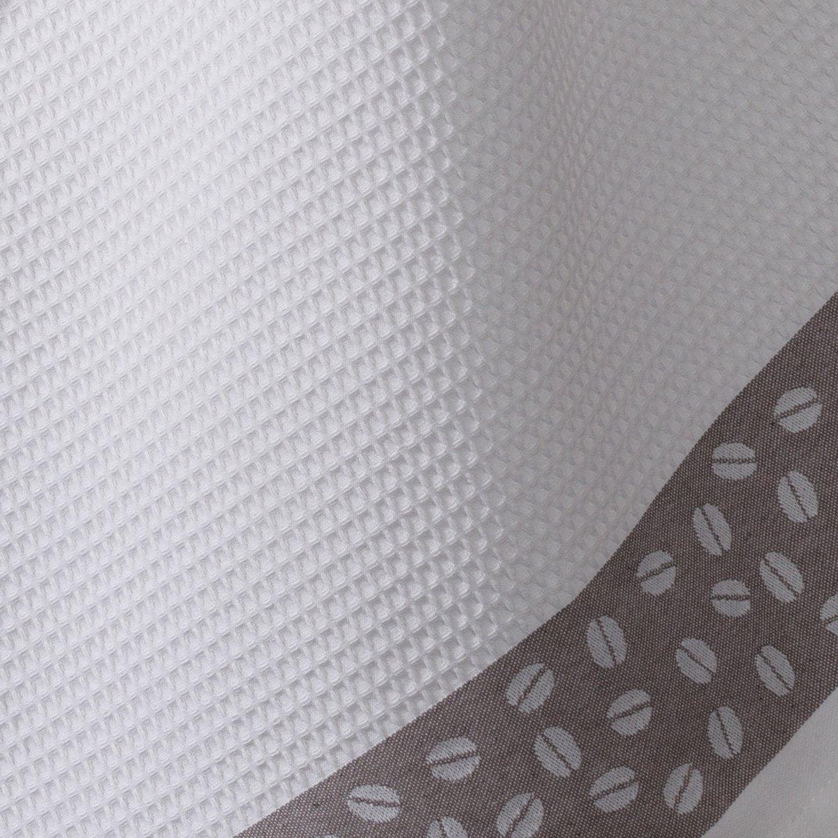 3 полотенца кухонныхВафельные полотенца высокого качества, 250 г/м?, 100% хлопка. Кайма с рисунком кофейные зерна на сером фоне. Стирка при 60°. Размер: 50 х 70 см. Произведено в Европе. В комплекте 3 полотенца.<br><br>Цвет: белый/ серый<br>Размер: 50 x 70  см