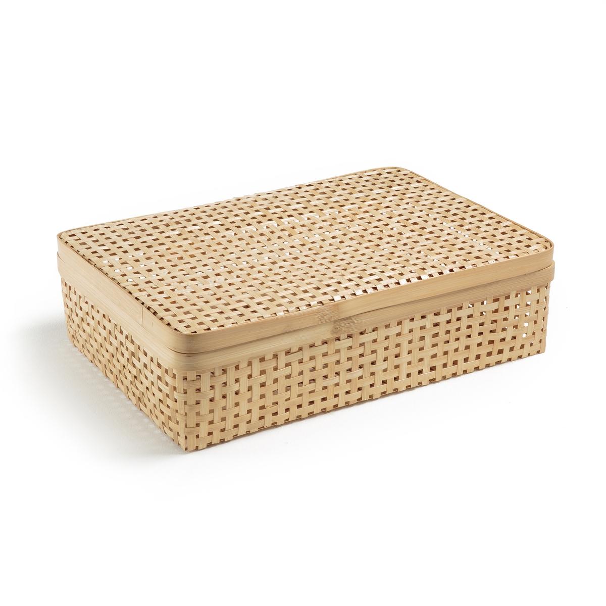Коробка ручного производства из бамбука, SyramuКоробка Syramu. В азиатском стиле, из плетеного бамбука. Практичная коробка, которую можно использовать на журнальном столике или под столиком для хранения вещей от любопытных взглядов благодаря съемной крышке. Произведено вручную. Размеры: Ш45 x В12 x Г31 см.<br><br>Цвет: серо-бежевый