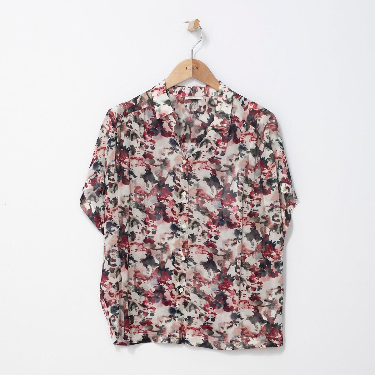Блузка La Redoute С принтом с короткими рукавами 38 (FR) - 44 (RUS) розовый цена 2017