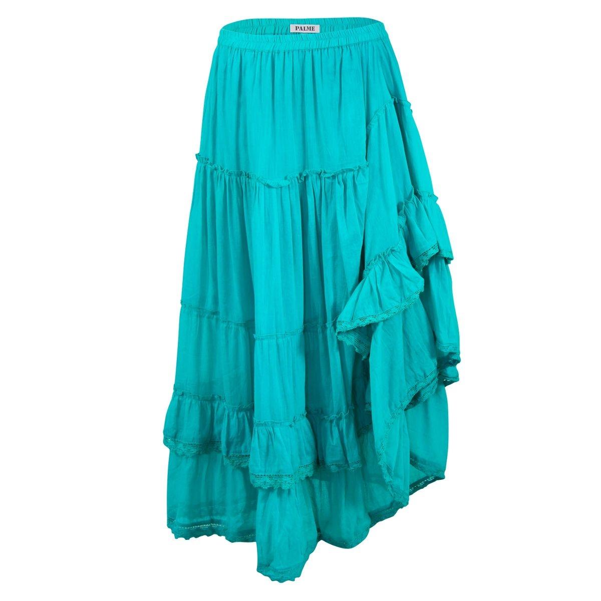 Jupe Longue Coton Unie Bleu
