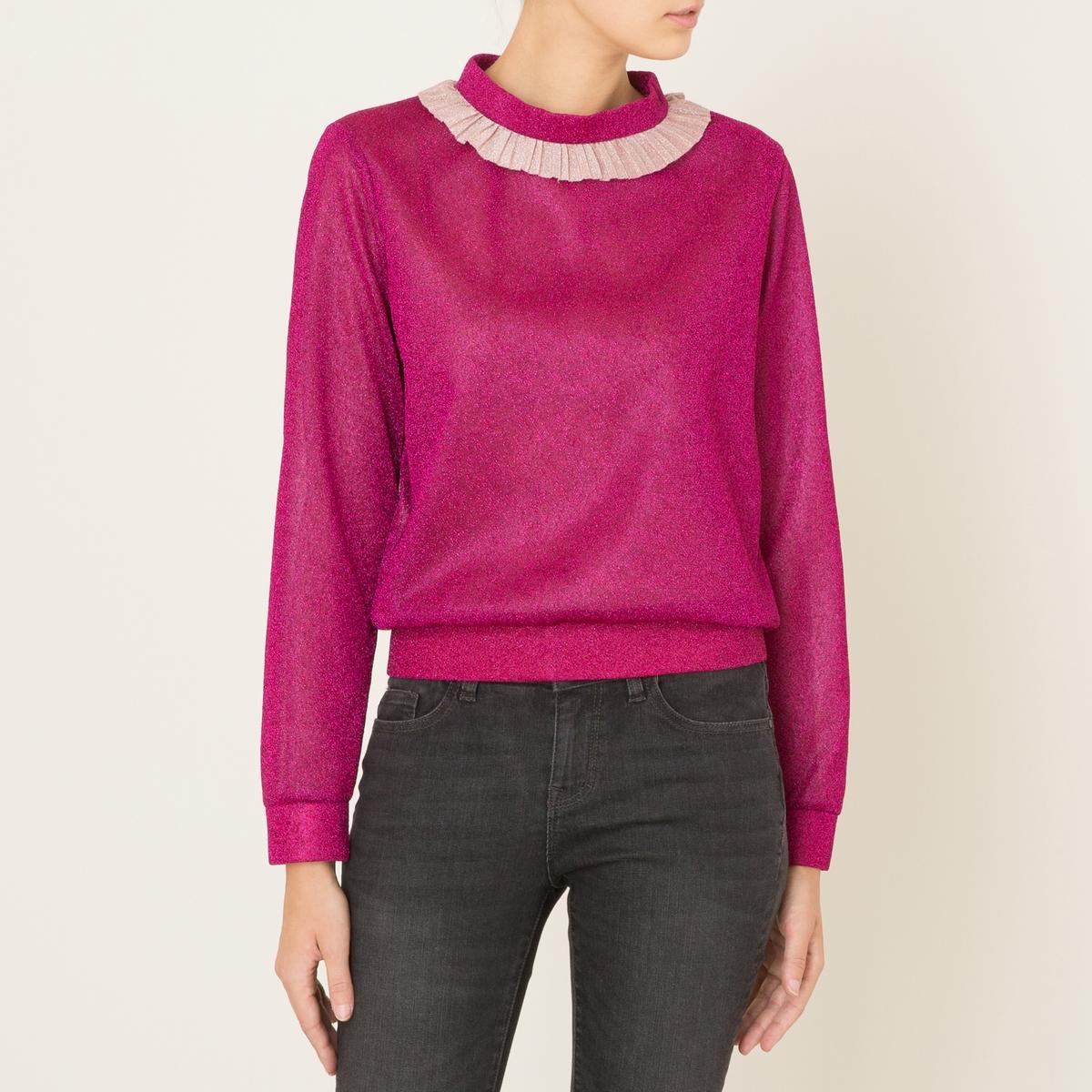 Пуловер с воротником с воланомСостав и описание            Материал : 60% полиамида, 40% люрекса           Волан: 68% полиамида, 32% полиэстера           Марка : SISTER JANE<br><br>Цвет: розовый