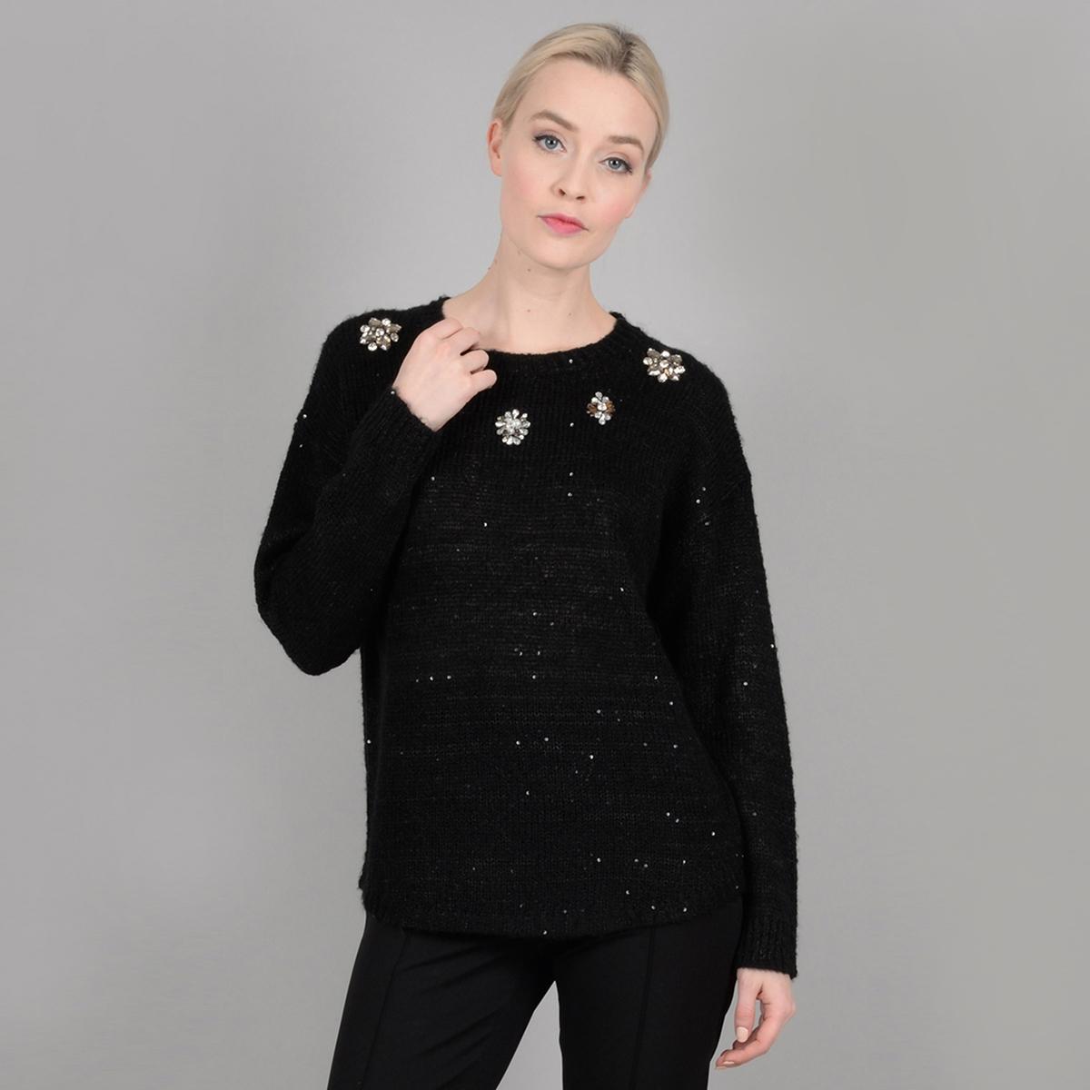 Пуловер La Redoute Из тонкого трикотажа с круглым вырезом и украшениями M черный пуловер la redoute с круглым вырезом из тонкого трикотажа m бежевый