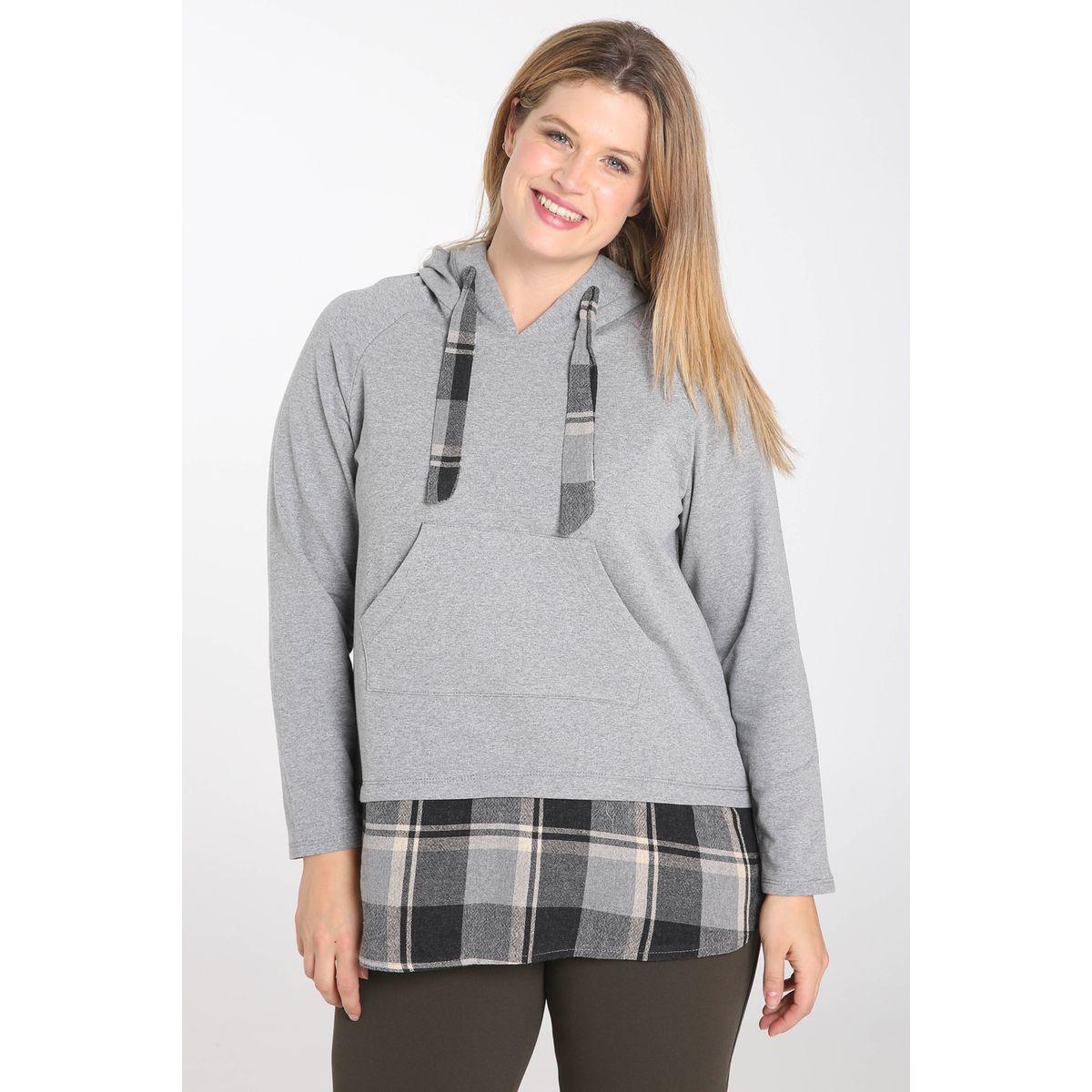 Sweat chemise à carreaux capuche manches longues