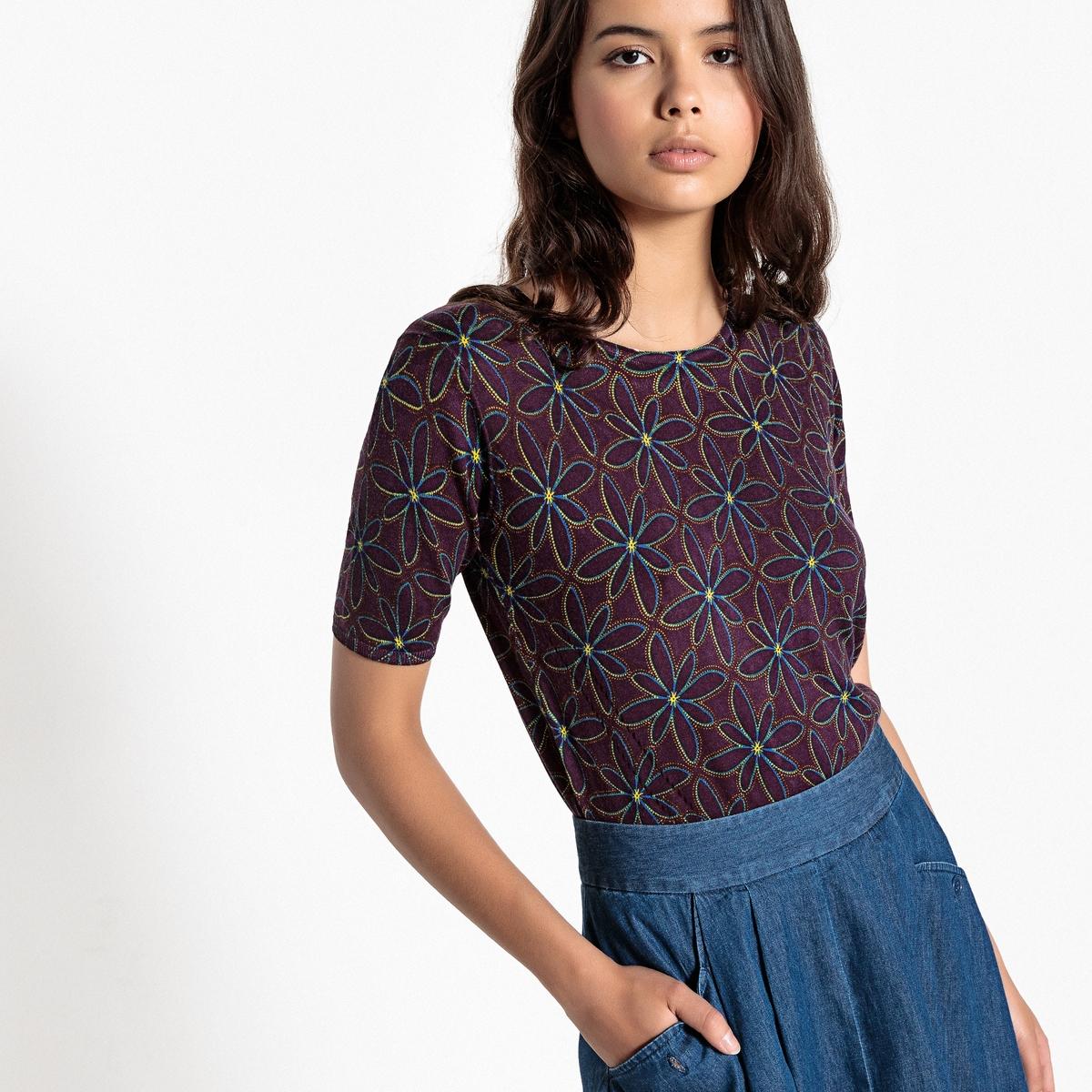 Пуловер с круглым вырезом и короткими рукавами из тонкого трикотажа
