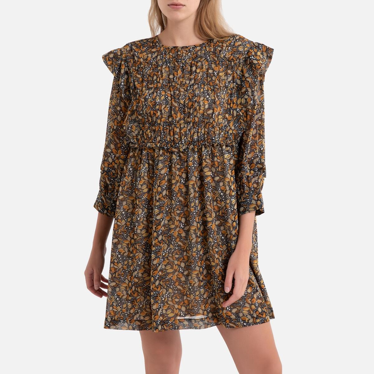 Платье La Redoute Короткое с принтом и рукавами SANDRA 1(S) каштановый платье с рукавами в 3 4 gloss