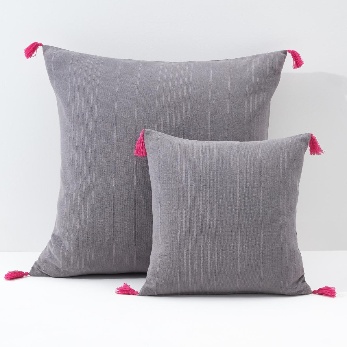 Чехол La Redoute Для подушки или наволочка однотонного цвета с помпонами RIAD 40 x 40 см серый набор для вышивания подушки полным крестом orchidea 9350 разноцветный 40 х 40 см
