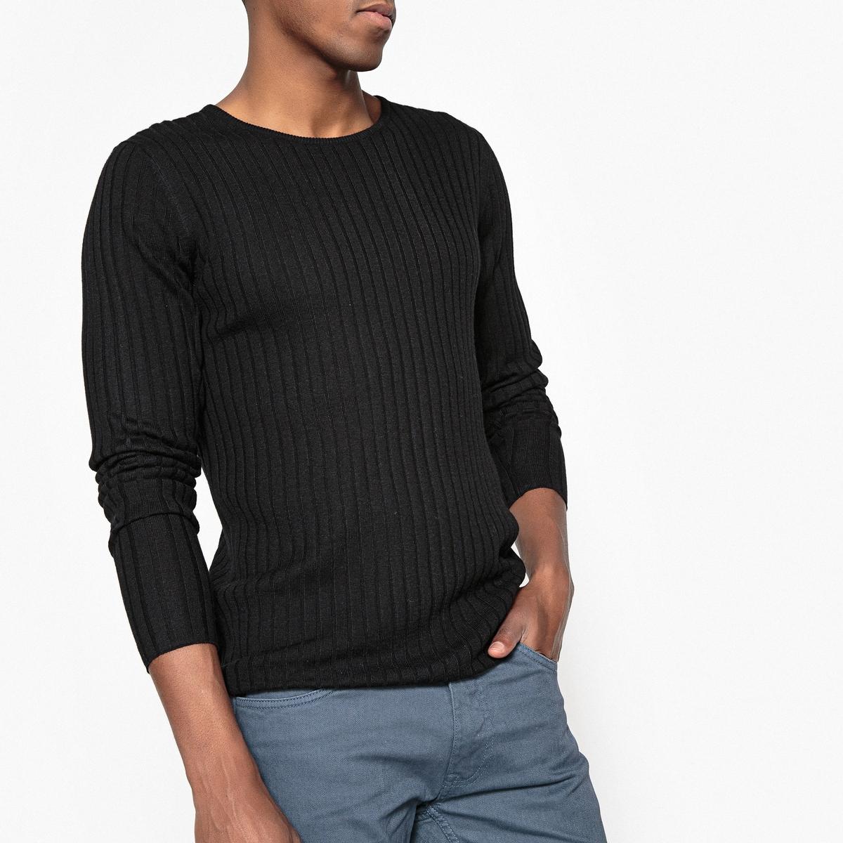 Sweter z okrągłym dekoltem, ścieg ściągaczowy