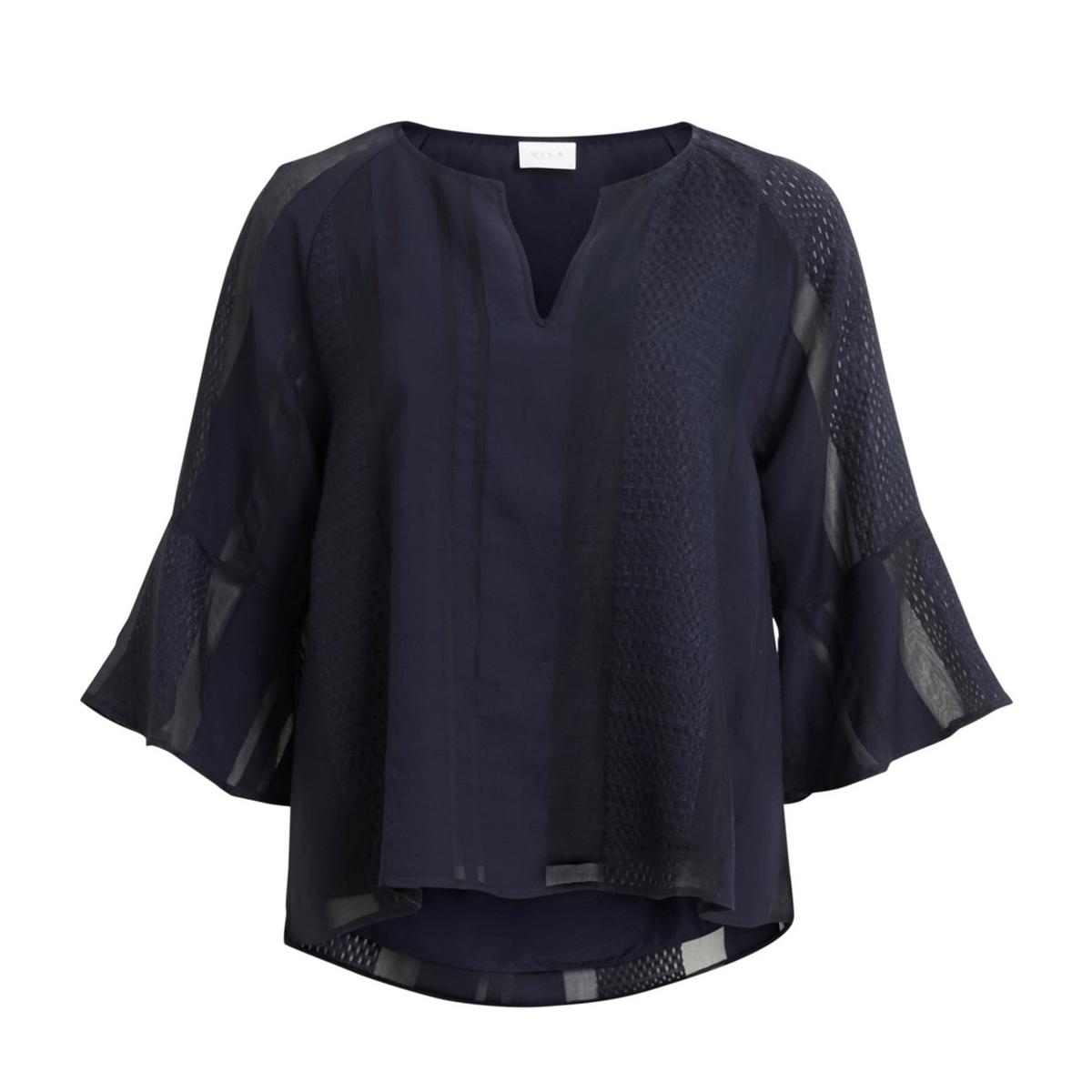 Блузка La Redoute С рукавми и V-образным вырезом 36 (FR) - 42 (RUS) синий блузка la redoute в клетку с украшениями на вырезе 36 fr 42 rus синий
