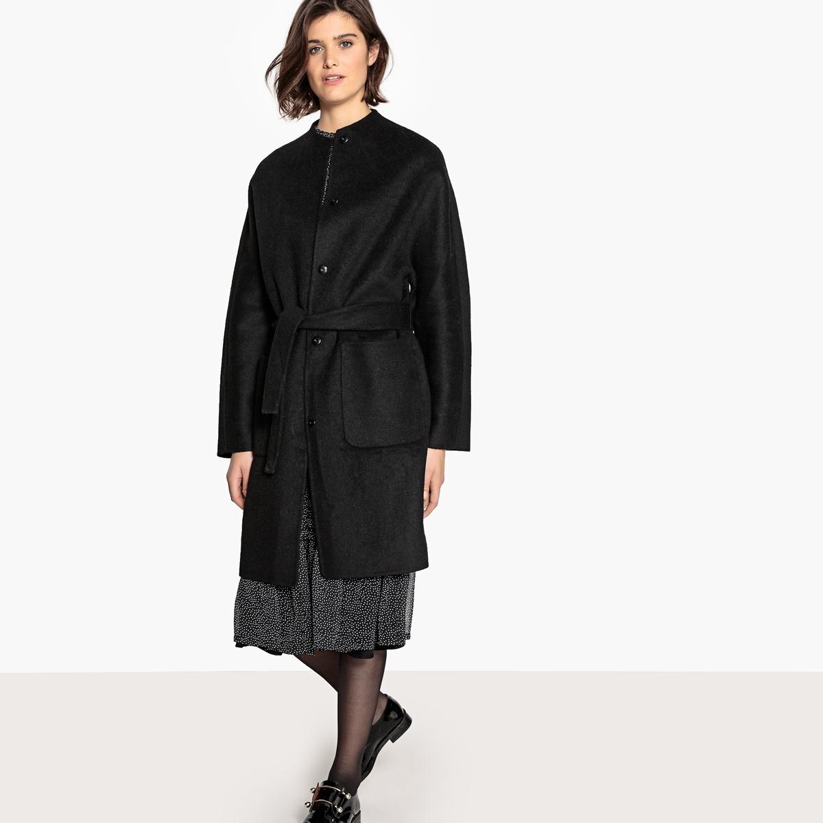 Пальто La Redoute Средней длины без воротника из полушерстяной ткани 34 (FR) - 40 (RUS) черный