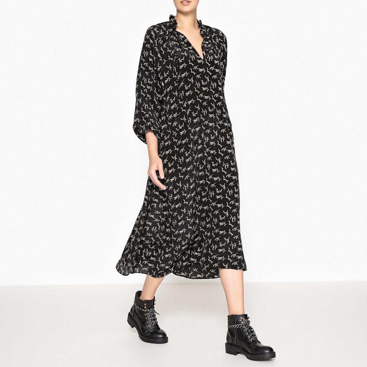 Платье шелковое с рисунком FLORENTINA