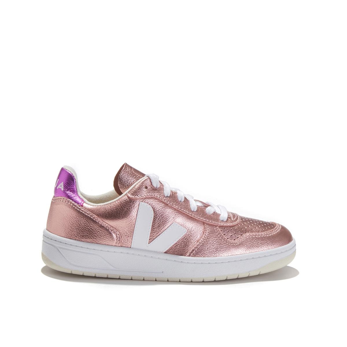 цена Кеды La Redoute С металлическим блеском на шнуровке V- 39 розовый онлайн в 2017 году