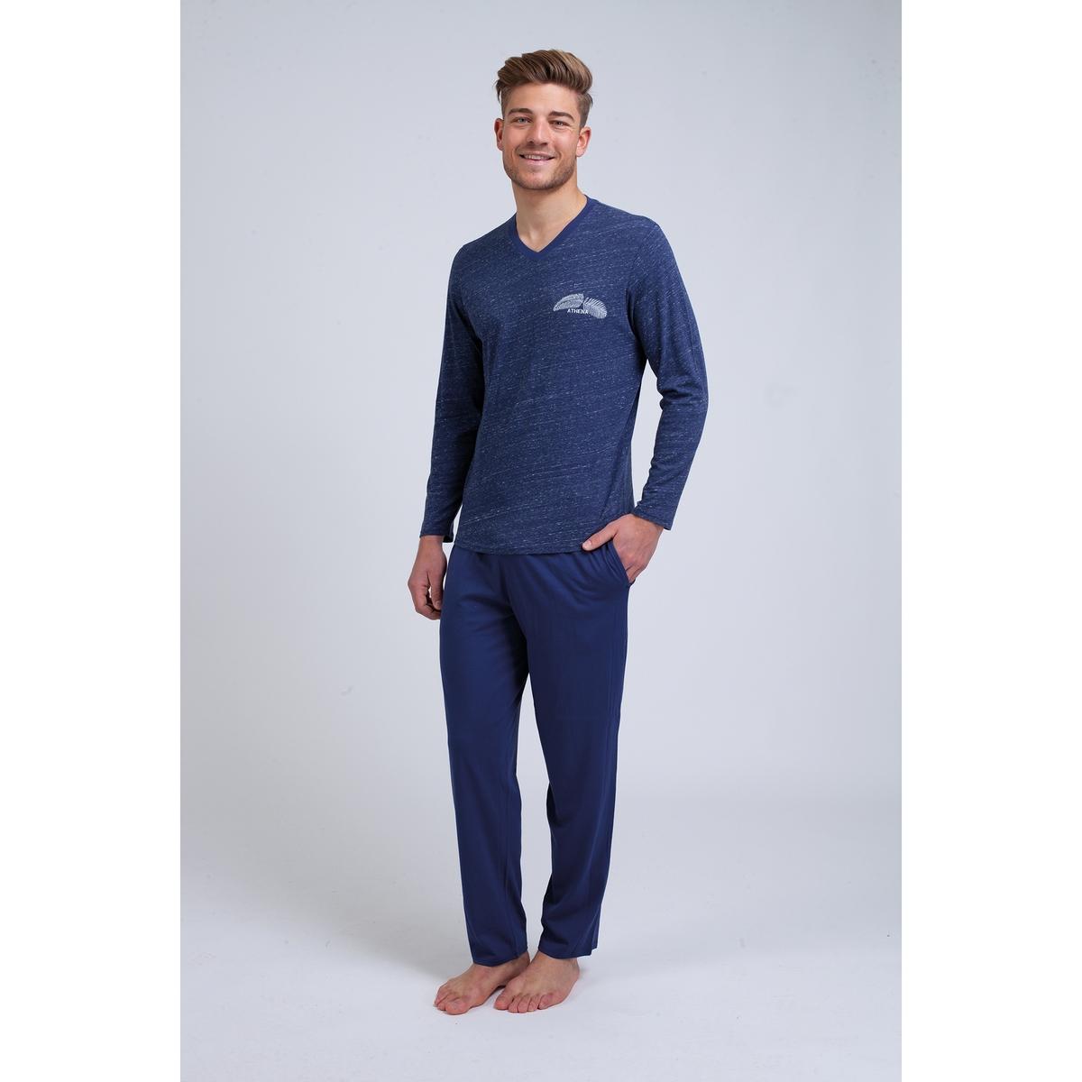 Пижама La Redoute Длинная из хлопка мулине S синий цена 2017
