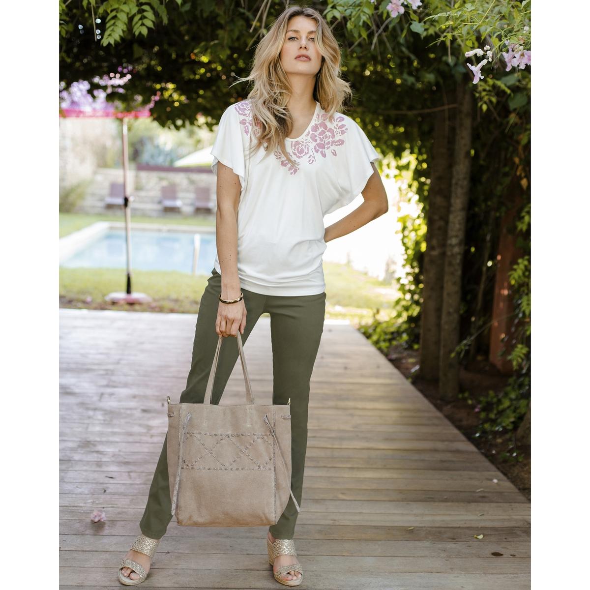 Imagen secundaria de producto de Camiseta con cuello redondo vaporosa y estampada - Anne weyburn
