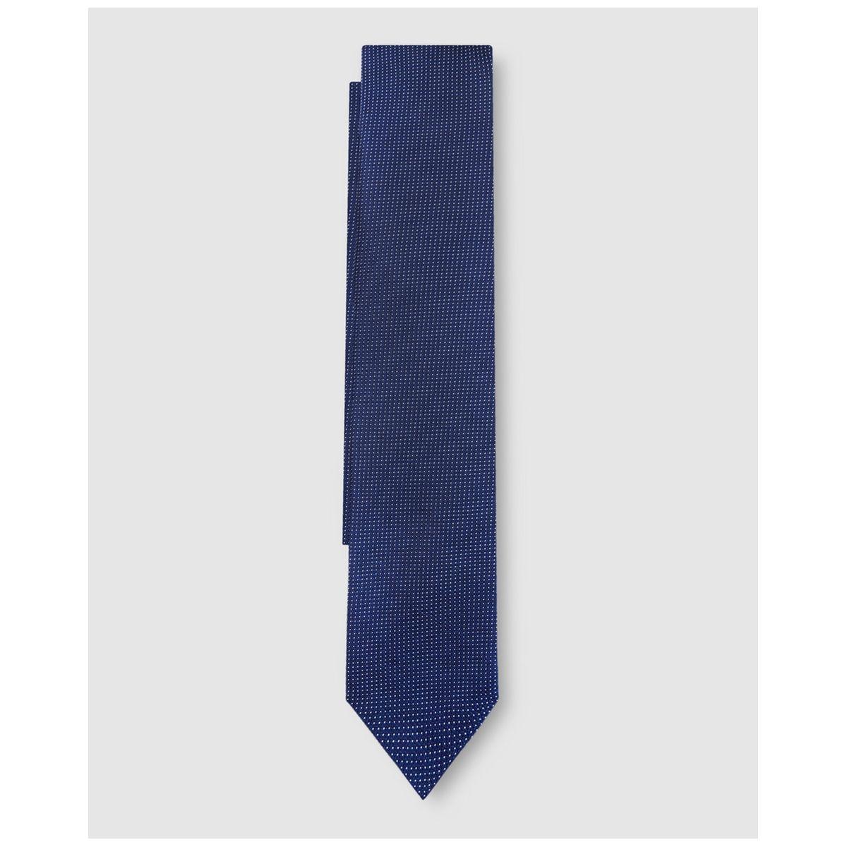 Cravate en soie bleu marine microimprimé à motif